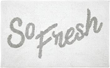 mDesign Plush, Cushioned Conversation Bath Mat Rug with Writing for Bathroom Floor - Gray/White