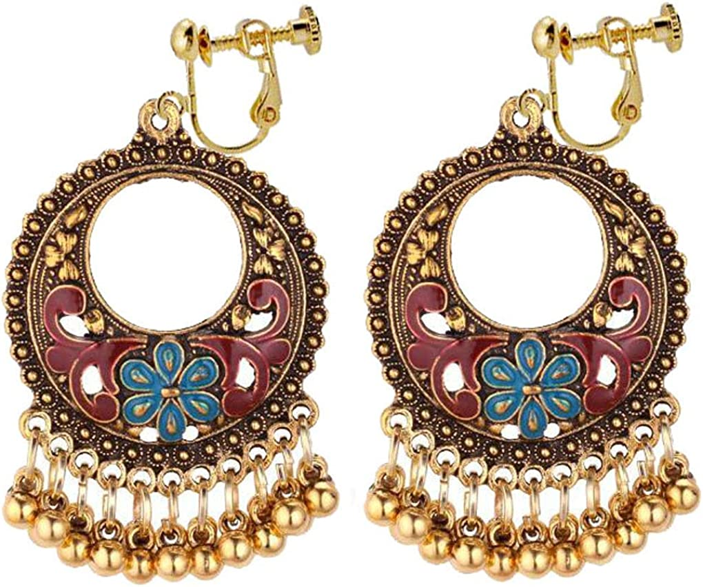 Bohemian Floral Clip on Earrings Round Tassel Ranking TOP5 Long Bells Hollow Gorgeous