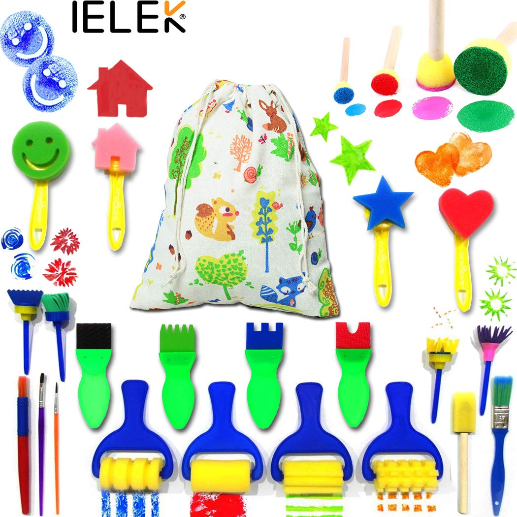 YGDZ Sponge Brush Brushes Mini Flower Painting Shapes Foam Brushes Drawing Tools for Kids Toddlers Gifts 39pcs Early Learning Kids Paint Set