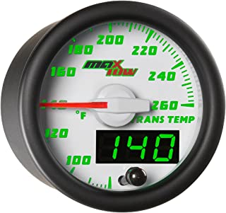 MaxTow Double Vision 260 F Transmission Temperature Gauge Kit - Includes Electronic Sensor - White Gauge Face - Green LED Illuminated Dial - Analog & Digital Readouts - for Trucks - 2-1/16 52mm