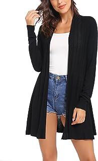 iClosam Gilet Femme Long Tricot Veste Femme Longue Pull Gilet Femme Manches Longue