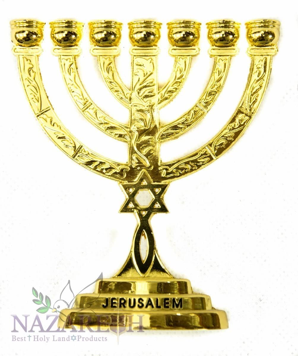 Holy Land Gifts Messianic Temple Menorah 7 Branches Star of David Israel