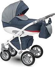 Lux4kids Cochecito 3 in 1 Silla de paseo + capazo + silla para coche + rutas giratorias neumática - giratorias Sirion gris & Jeans bleu Si-22 con Isofix con Pecho de lana