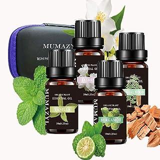 Sandalwood,Jasmine,Vanilla,Bergamot Essential Oil Sets Organic Plant Natural Pure Therapeutic Grade Oils for Diffuser,Clea...