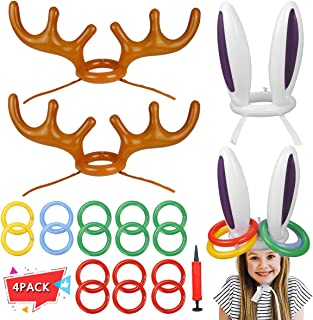 Garberiel 4 PCS Two Ring Toss Carnival Game Combo Set Bunny Inflatable Hat for Kids Teens Students Outdoor Practical Party...