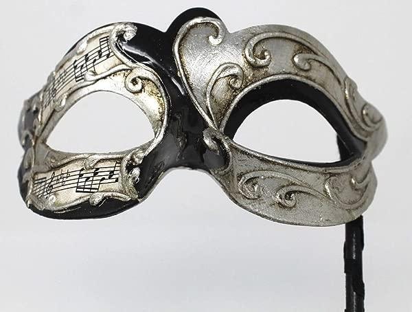 Mask Co Mens Or Women S Black Silver Musical Notes Script Venetian Masquerade Party Ball Eye On A Stick