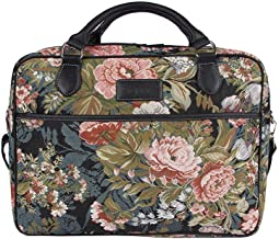 Signare Tapestry Navy & Pink Computer Laptop Notebook Bag 15.6 inch in Peony (CPU-PEO)