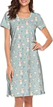 Short Sleeve Nightgowns Women's I Love Cat Head in Heart Sleepshirts