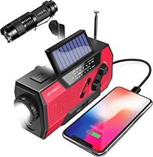 Emergency Weather Radio,Omew Portable Solar Hand Crank NOAA Weather Radio with AM/FM, LED Lamp, 2000mAh Power Bank Phone C...