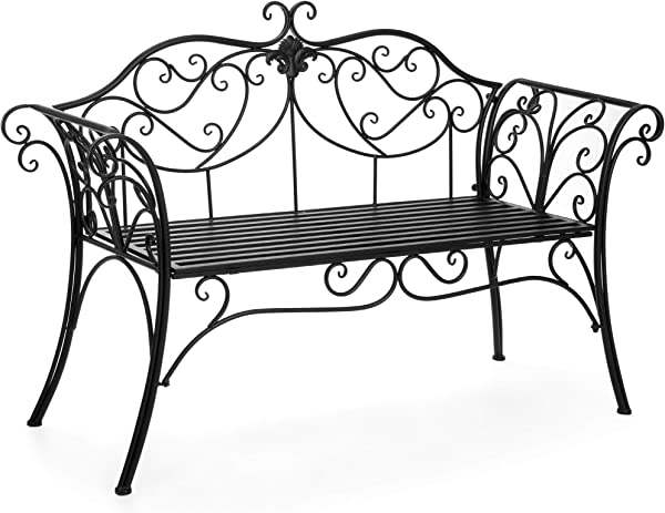Best Choice Products 52 Inch 2 Person Decorative Metal Iron Patio Garden Bench Outdoor Furniture For Front Porch Backyard Balcony Deck W Elegant Scroll Details Rolled Armrests Black