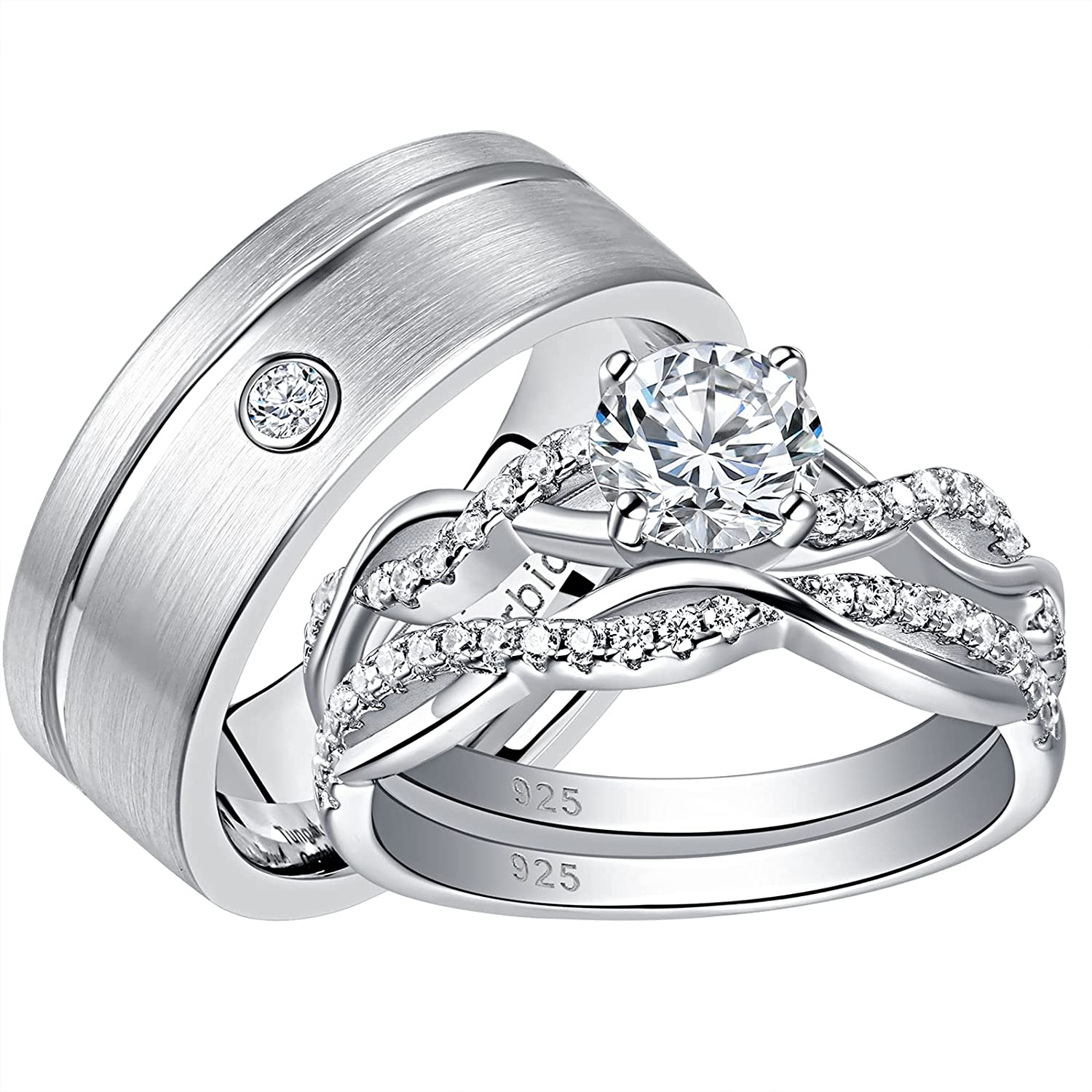 SHELOVES Wedding Rings Set His Hers Couple All items in the store Women Men Cz Round Cheap mail order specialty store Tu