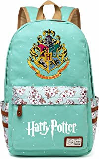 JUSTRHICE Korean Casual Canvas Backpack Laptop Bookbag School Bag Daypack for Harry Potter Cosplay (Green 2)