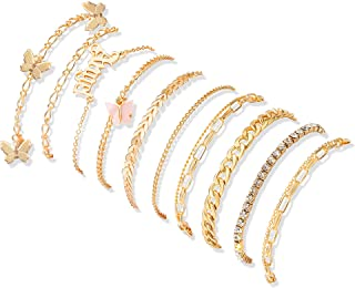 10Pcs Ankle-Bracelet For Women Gold Anklets Set Butterfly Anklets Boho Layered Beach Anklets Foot Chains Adjustable