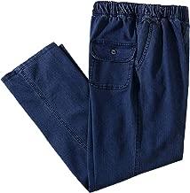 IDEALSANXUN Men's Elastic Waist Loose Fit Denim Pants Casual Solid Jeans Trouser
