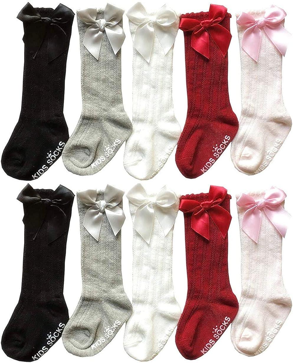 QandSweet Baby Girl Knee-High Socks Toddlers Bow Stockings Newborn Infant Non-Slip Sock
