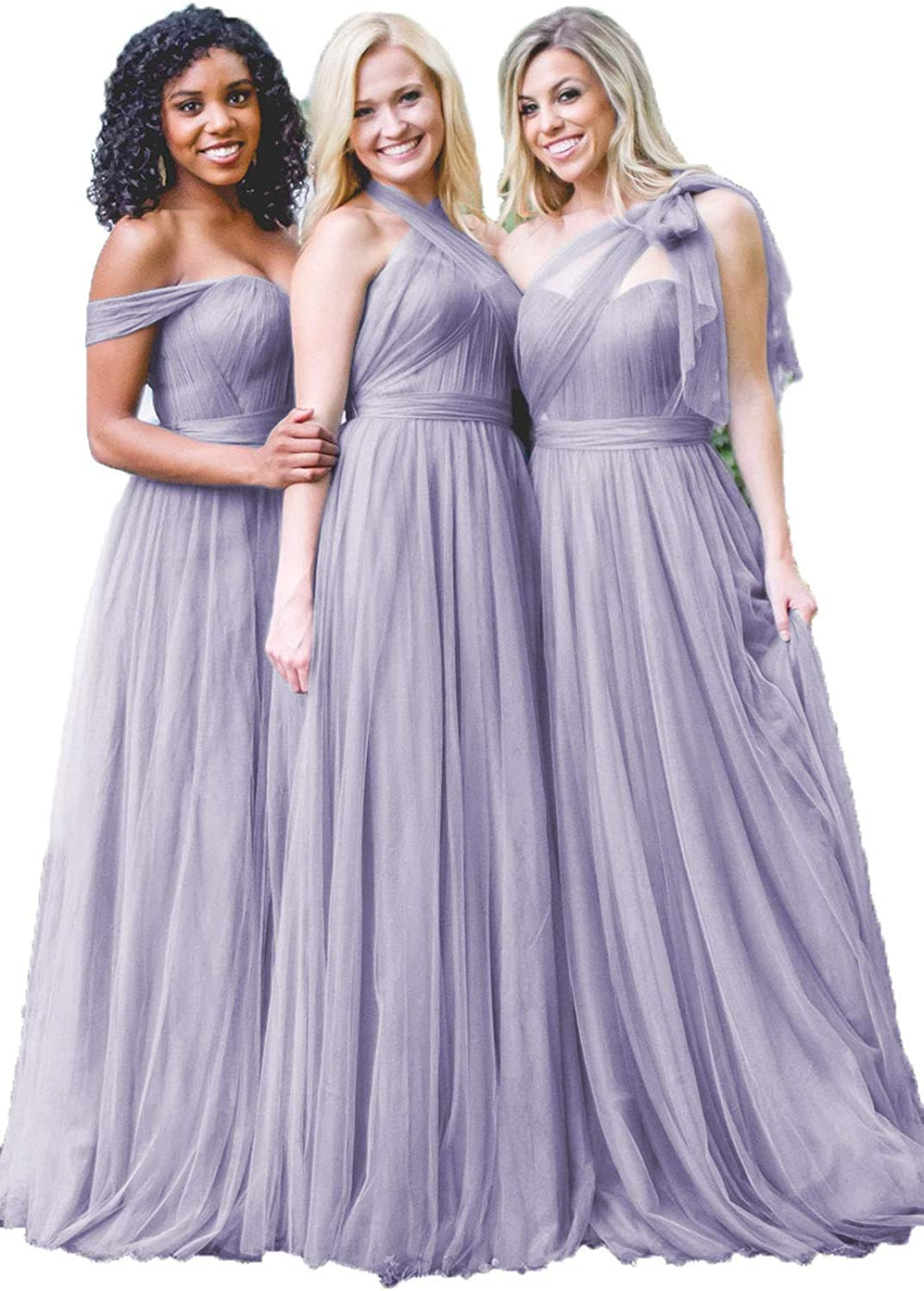 Dresspic Dusty Blue Tulle Wedding Gorgeous unisex Wome Dress For 2018 Bridesmaid