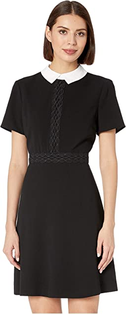 Short Sleeve Moss Crepe Collared Dress w/ Lace Trim