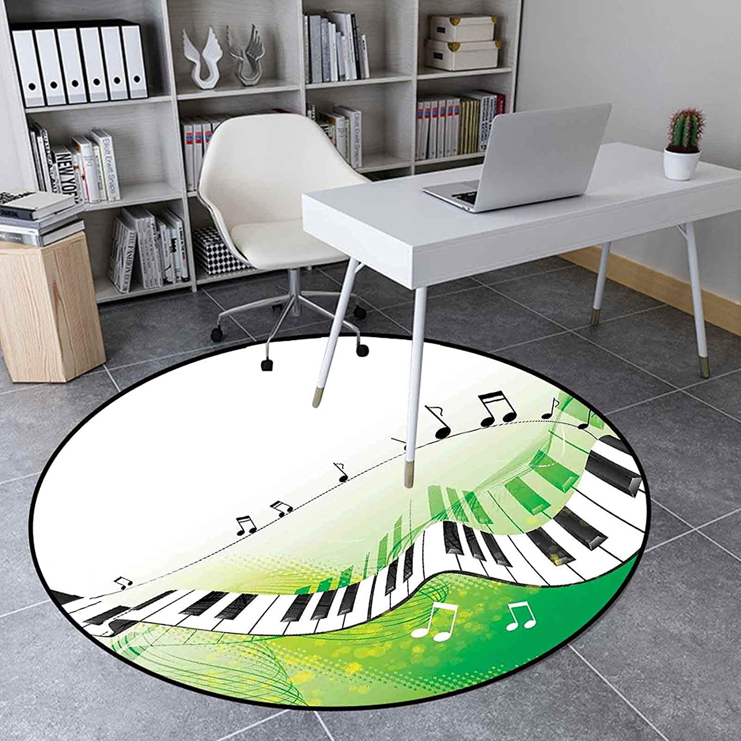 Round Rug Max 82% OFF 4.9' Non-Slip Kitchen Pian Floor Mat Factory outlet Soft Music