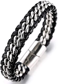 ● Solo Silver/Honor Gold/Nightwatch Black ● Men's Genuine Leather Bracelet with Double Titanium Chain Gun Black/Golden/Silver Magnetic Clasp Size Adjustable 8.5