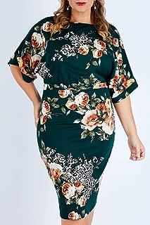 Bird by Design Womens Knee Length Dresses The Printed Kimono Sleeve Dress Forest