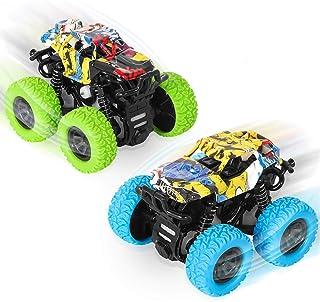 sanlinkee Monster Trucks , 2 Pack Pull Back Véhicules Inertie Voiture Jouets Enfant Camion à Friction 360 Degrés Jouet Véh...
