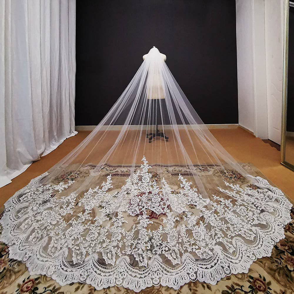 HUIJK Veil Romantic Lace Long 3 Cathedral 1 Meters Wedding Limited time trial National products price