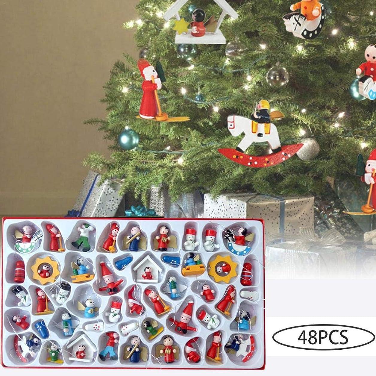 群衆誓う取得するshopparadise クリスマスツリー オーナメント デコレーション ペンダント 木製 人形 48個セット 装飾パーツ サンタ ツリー 可愛い クリスマス飾り インテリア 壁掛け装飾 部屋装飾 クリスマス 置物 オーナメント 人形 糸付き ツリーオーナメント