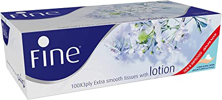 Fine Facial Tissues Extra Smooth with Lotion, 3 Ply x 100 sheets