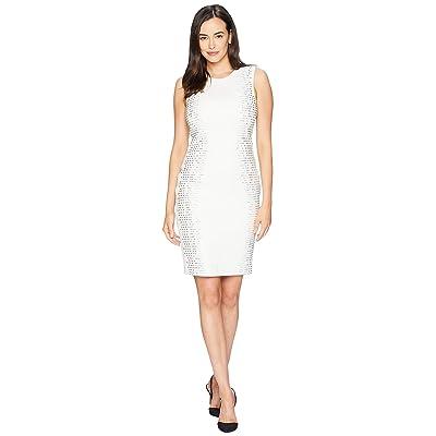 Calvin Klein Embellished Side Panels Sheath Dress CD8M18TP (Cream) Women