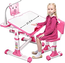 Kids Desk with LED Light,Study Table for Kids Pink Height Adjustable Students Desk and Chair Set,Tiltable/Not Tiltable Wri...