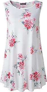 Women's Sleeveless Swing Tunic Summer Floral Flare Tank Top