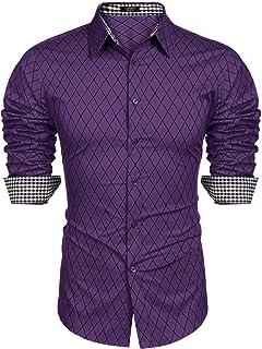 COOFANDY Męska codzienna dopasowana sukienka koszula z długim rękawem formalna koszula guziki w kratkę koszule męski top