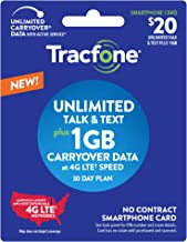 New Tracfone $20 Unlimited Talk, Text, 1GB Data - 30 Day Smartphone Plan