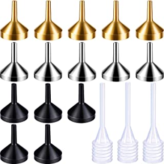 Boao 15 Pieces Metal Mini-Small Funnel Set with 3 Pack Mini Pipette for Essential Oils, Perfumes Spray Bottle, Perfume, Liquid (Gold, Silver, Black)