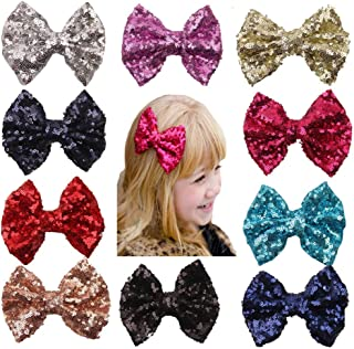 Baby Girl's Bows-Clips Sparkly-Glitter-Sequin Alligator Hair-Clips Hair Accessories (10colors, One_Size)