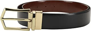LOUIS STITCH Men's Reversible Black and Brown Italian Leather Belt with Golden Buckle (Prague_PLGD)