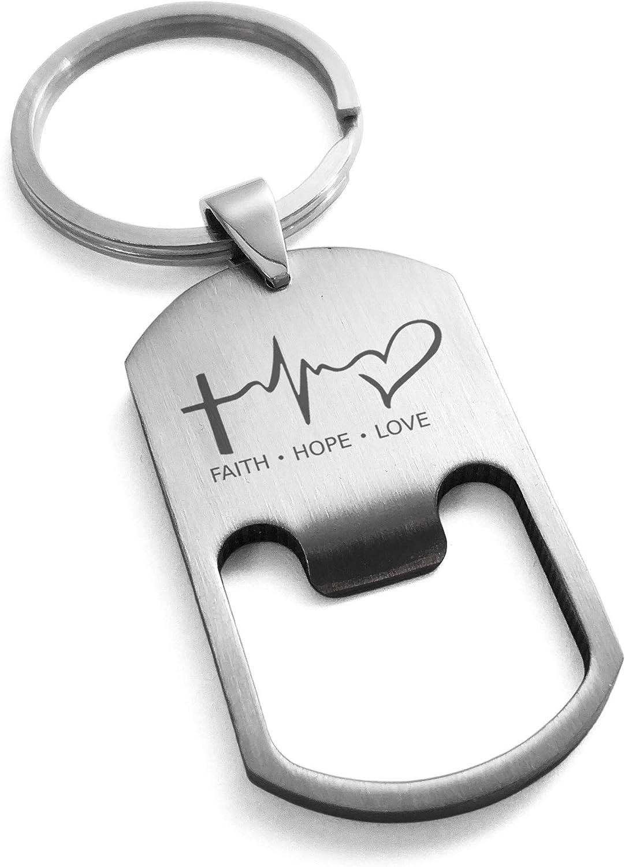 Tioneer Stainless Steel Faith Hope Love Lifeline Symbol Bottle Opener Dog Tag Keychain Keyring