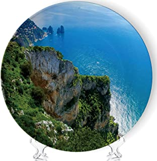 Hitecera View from a Cliff on The Island of Capri Art Meloble Decorative Ceramic Plates Display Plate Crafts,with Stand,for Living Room of The Home,7''