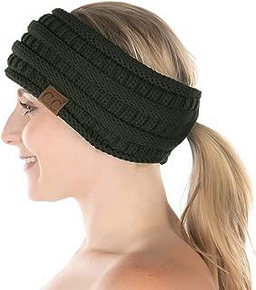 Funky Junque Womens Ponytail Head Wrap Messy Bun Lined Knit Headband Ear Warmer