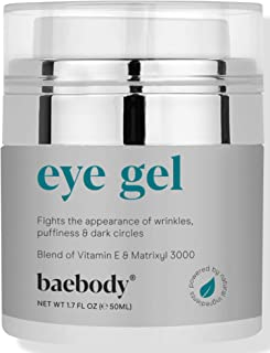 Baebody Eye Gel for Under and Around Eyes to Smooth Fine Lines, Brighten Dark Circles and De-Puff Bags with Peptide Comple...