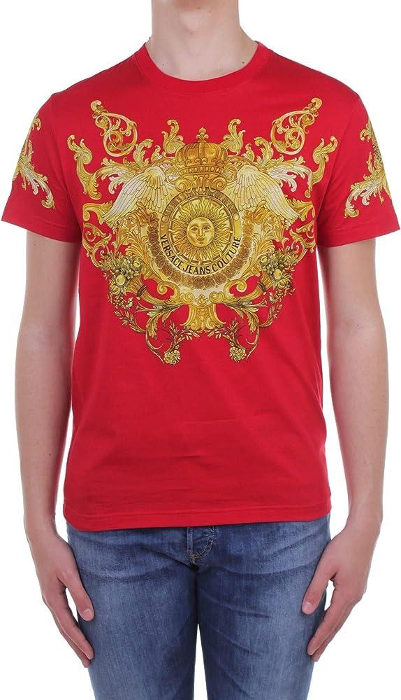 Versace jeans couture, t-shirt da uomo,maglietta maniche corte, 100% cotone EB3GWA7TJ-E30319_EK42