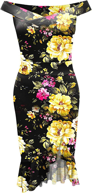 ORT Dress for Women 2021, Womens Sundresses, Womens Plus Size Short Sleeve Deep V Neck Bodycon Wrap Dress with Front Slit