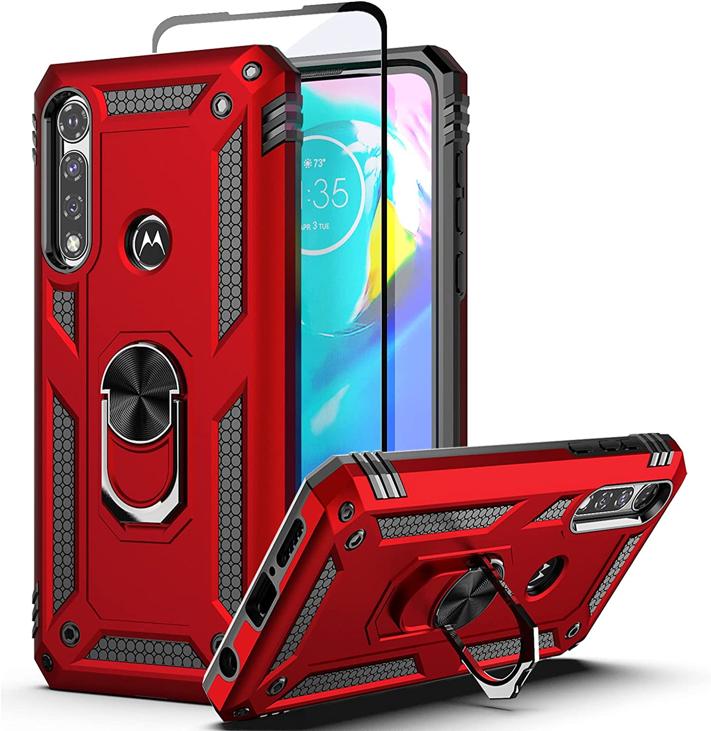 Dretal Moto G Power Case with Tempered Glass Screen Protector, Military Grade Shockproof Protective Case Cover with Rotating Holder Kickstand for Motorola Moto G Power 2020 (JS-Red)