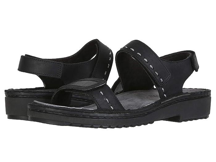 Naot  Benya (Oily Coal Nubuck/Reptile Gray Leather) Womens Shoes