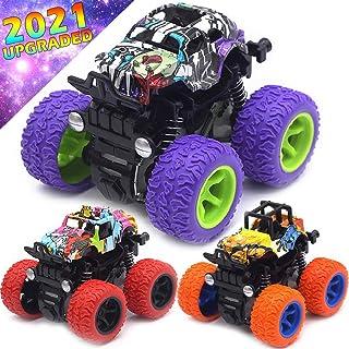 Monster Trucks Toys for Boys - Friction Powered 3-Pack Mini Push and Go Car Truck Jam Playset for Boys Girls Toddler Aged ...