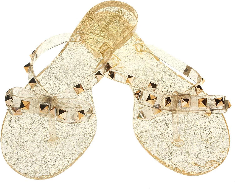 Tengyufly Womens Rivets Bowtie Flip Flops Jelly Thong Sandal Rubber Flat Summer Beach Rain shoes (US9=EU41=25.5CM, Clear-gold)