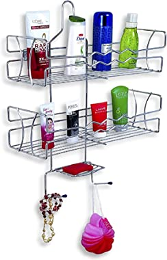 U-S-F BATH ACCESSORIES Multipurpose Stainless Steel Silver Wall Mounted Bathroom Shelf/Kitchen Shelf/Bathroom Accessories/Wal
