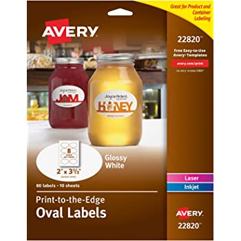 """Avery Oval Labels with Sure Feed Laser & Inkjet Printers, 2"""" x 3-1/3"""", 80 Glossy White Labels (22820)"""