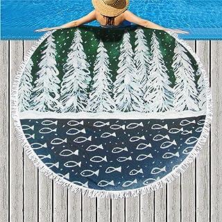 ラウンドビーチタオル ビーチマット マイクロファイバータオル 太めのバスタオル フリンジ付きショールサンスクリーンビーチタオル スーパー吸収カーペット ラウンドタオル インテリアファッション インテリア 複数のパターンと複数の用途