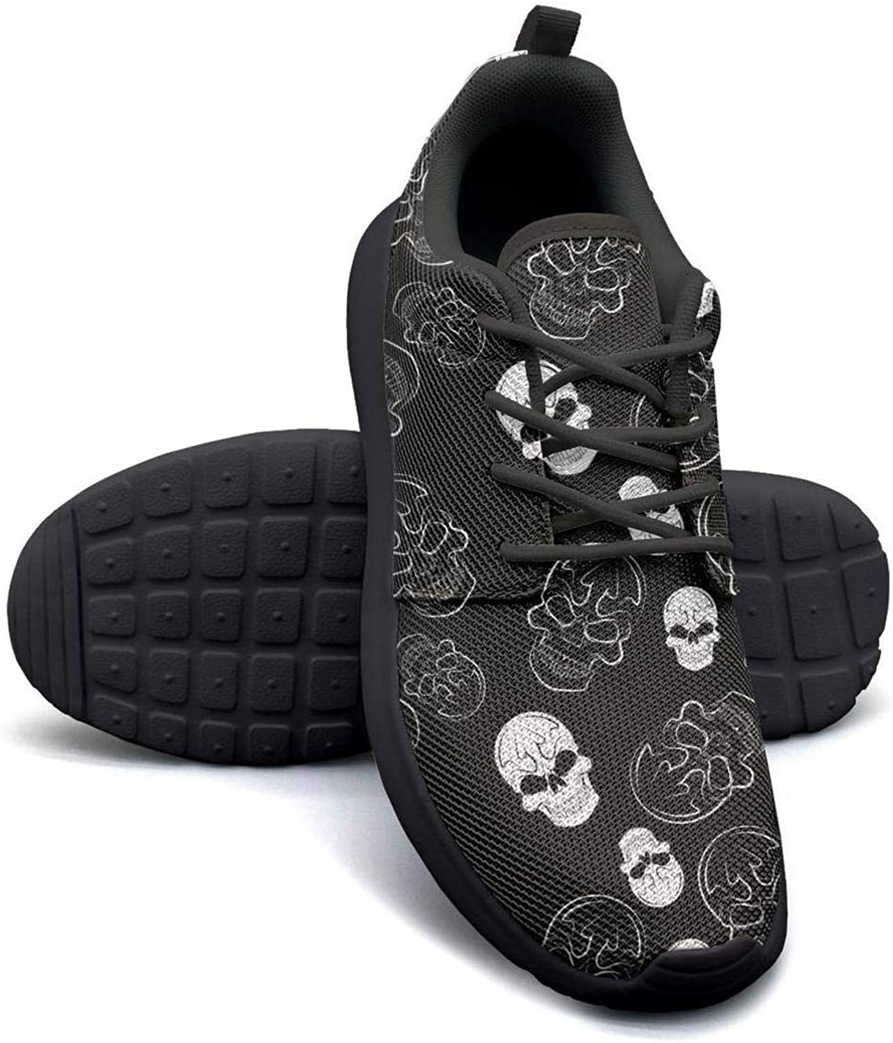 Gjsonmv Black Skull Pattern mesh Lightweight shoes for Women Comfortable Sports Cycling Sneakers shoes